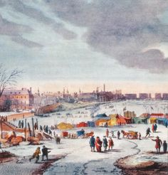 Thames Frost Fair 1683. Cold winters were more common during the Little Ice Age, but the Thames has been greatly narrowed since this period, speeding its flow and preventing ice from forming.