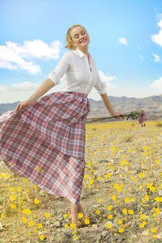 Evi Plaid Taffeta Skirt Pink