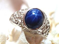 10x8 Mens Star Sapphire Ring (Lab) Solid 925 Sterling Silver Size 9 Unisex Oval by JewelrybyPatterson on Etsy