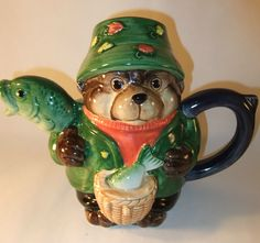 Collectable Pots of Fun Otter Pot Novelty Teapot with Fish by Bob Hersey | eBay