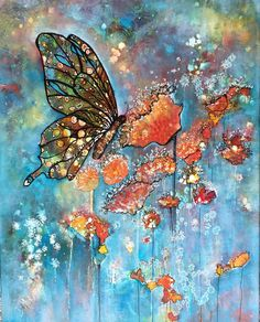 "Contemporary Landscape Artists International: ""Transformation"", Original Mixed Media Painting by Colorado Artist, Donna L. Seascape Paintings, Animal Paintings, Watercolor Illustration, Watercolor Art, Butterfly Art, Butterflies, Mixed Media Painting, Art Pictures, Canvas Art"
