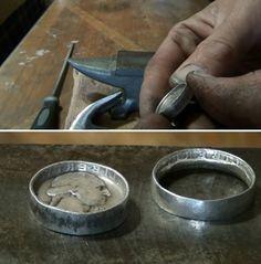 DIY Coin Ring Tutorial by DIY Ready at  http://diyready.com/how-to-make-coin-rings/