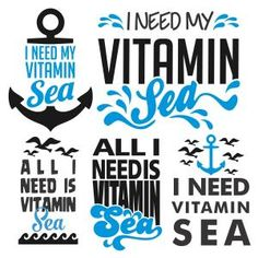 All I Need is My Vitamin Sea Pack with Summer Wave, Marine Anchor and Flying Birds Cuttable Design Cut File. Vector, Clipart, Digital Scrapbooking Download, Available in JPEG, PDF, EPS, DXF and SVG. Works with Cricut, Design Space, Sure Cuts A Lot, Make the Cut!, Inkscape, CorelDraw, Adobe Illustrator, Silhouette Cameo, Brother ScanNCut and other compatible software.