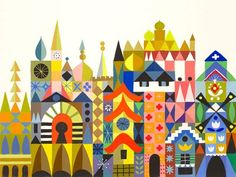 Mary Blair - Primary forms combine to make more complex forms - easy fabrication and (maybe) resueability). mary blair- Small World Art For Kids, Mary Blair Art, Disney Diy, Disney Artists, Fantasy Castle, Illustration Art, Disney Art, Art, Vintage Illustration