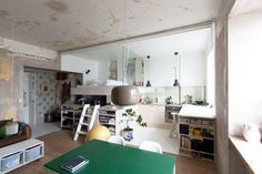 Great Tiny kitchen This Stockholm Small Space Nails Industrial-Modern Style #refinery29  http://www.refinery29.com/small-space-sweden#slide-1  The bold, Kelly green kitchen table centers the room. The light fixture hung low overhead turns a table into a dining-room vignette.