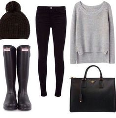 Simple school outfit with sweater, boots, leggings and beanie adorable.