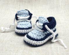 Вязание крючком для мальчика кроссовки, вязание крючком пинетки Baby Boy в Размер новорожденного до 3-6mos
