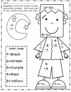 awesome Halloween Math Coloring Pages Grade, Nice Halloween Math Coloring Pages Grade - posted on 24 October can also take a look at other pics below! Math Classroom, Kindergarten Math, Classroom Activities, Preschool, Math Coloring Worksheets, Subtraction Worksheets, Number Worksheets, Printable Coloring, 2nd Grade Math Worksheets