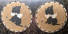 Vintage Set of 2 Scottie Scottish Terrier Cork Coasters
