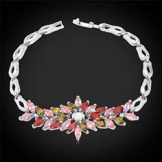 Luxury Zirconia Bracelet Women Gift New Trendy 18K Real Gold Plated Colorful AAA Zircon Flower Jewelry 18 CM Chain Bracelet