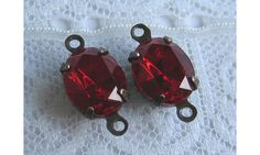 10x8 Swarovski Siam Red Oval Rhinestone in Brass by Rhinestones4u, $3.00