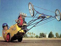"Lawn Mower Powered Mini-Dragster ""Go-Kart"" Custom Radio Flyer Wagon, Radio Flyer Wagons, Vintage Go Karts, Kids Ride On, Pedal Cars, Mini Bike, Drag Cars, Car Humor, Vintage Racing"