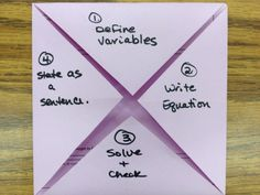 foldable - writing equations from word problems