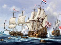 Dutch warship in action, Anglo-Dutch War
