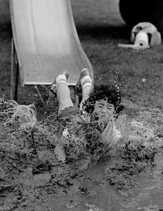 Photo by Neal Boenzi - In the mud at Flushing Meadows- Corona Park, 1977. ☚