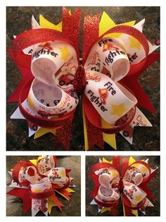 My daddy is a firefighter Stacked boutique hair bow