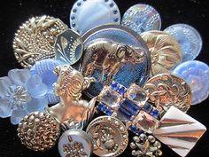 blue & silver vintage buttons