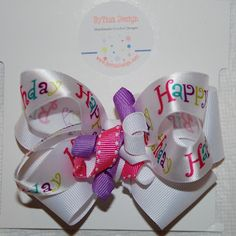 Happy Birthday Hair Bow kids $7.00