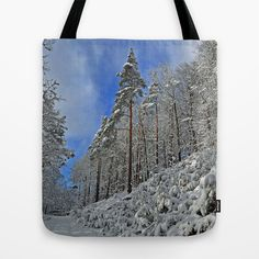 Winterwonderland Tote Bag by Pirmin Nohr - $22.00 Wintery Scene on the top of a mountain.    trees, forest, winter, snow, snow-covered, blue sky, landscape, nature