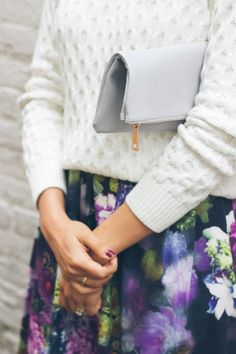 grey fold over clutch, j crew cable knit sweater