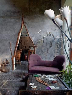 home in Flanders architecture interior design doorway organic natural fantasy faerie house twig branch living room