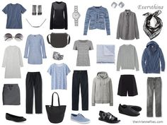 Casual, but really nice...  Remember, we started with a simple black column of clothing, with a great blue cardigan; of course, we need shoes:   Tee – Lands' End; pants – L.L.Bean;cardigan - Halhuber