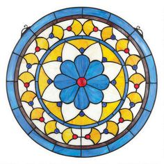 """Victorian Blue Flower"" Stained Glass Window"