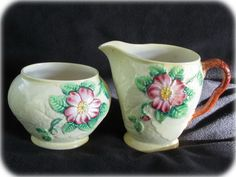 vintage and collectible Carlton Ware Wild Roses art deco yellow pattern 2115 creamer & sugar pot set Carlton Ware, Pot Sets, Yellow Pattern, Cream Roses, Rose Art, Cream And Sugar, Fine China, Cup And Saucer, Sewing Crafts