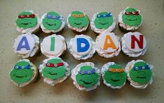 TMNT cupcakes to match Aidan's cake! Vanilla cake with vanilla filling.