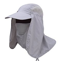 Lanzom Quick Drying Hiking Fishing Camping Visor Hat Face Neck Cover Sun Cap  UPF 50+ · Uv Protection ... b173a85c0bd3