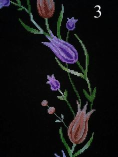 This Pin was discovered by Gül Cross Stitch Rose, Brooch, Jewelry, Tulips, Cross Stitch Embroidery, Towels, Drawings, Stuff Stuff, Border Tiles