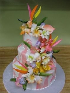 I Love These Bright Colors - tropical bird of paradise wedding cake or bridal shower