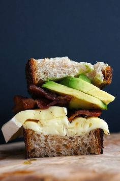 This might be the most beautiful sandwich we've ever seen. Bacon + brie + avocado.