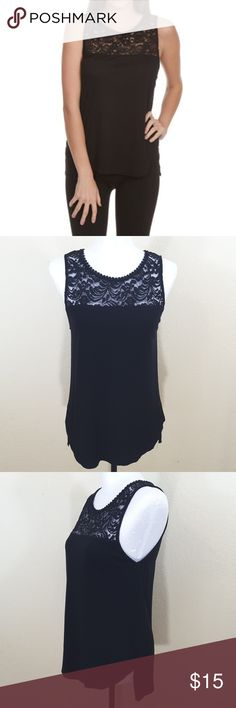 """Ambiance sleeveless black blouse Black Ambiance blouse with lace accent at top. has one button in the back. Split sides and sleeveless. size large. made of Rayon, cotton, and nylon. bust 36"""", length 25"""" from shoulder to bottom hemline. Used in good condition. Ambiance Apparel Tops Blouses"""