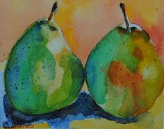 'A Warm Pear' Fine Art Watercolor by Celia Blanco -A pair of pears painted with a limited color palettes in the daytime. Consisting of: cadmium yellow, cadmium red, ultramarine blue, burnt umber, permanent green and yellow ochre.