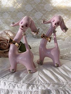 Pink Poodles,Vintage Porcelain Spaghetti Trim Poodles, shabby chic Pair of Poodles, Vintage long neck Poodle,Japan,1950s Kitsch, Poodles by Fannypippin on Etsy https://www.etsy.com/listing/218080017/pink-poodlesvintage-porcelain-spaghetti