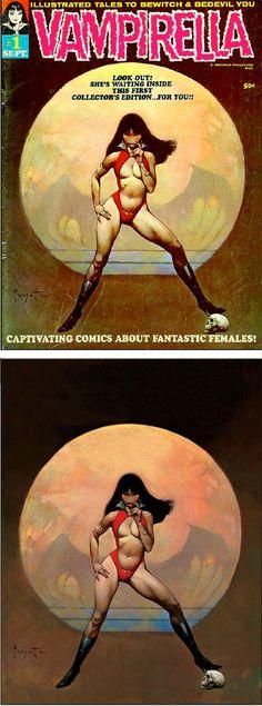 (PG) FRANK FRAZETTA - Vampirella #1 - Sept 1969 Warren Publications - cover by vampilore.co.uk