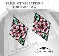 Brick stitch patterns for beads earrings, digital file pdf, - Boucles Doreilles Bead Embroidery Patterns, Bead Loom Patterns, Peyote Patterns, Beaded Embroidery, Beading Patterns, Stitch Patterns, Knitting Patterns, Mosaic Patterns, Color Patterns