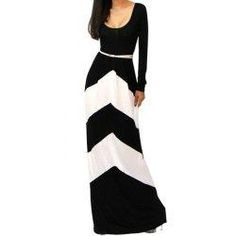 #trendsgal.com - #Trendsgal Scoop Neck Long Sleeve Color Block Maxi Dress - AdoreWe.com