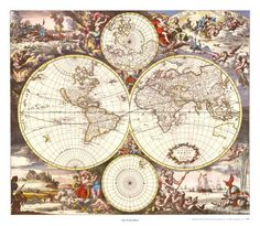 Mapamundi Lámina por Joan Blaeu en AllPosters.es