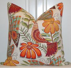 Decorative Pillow Cover  Botanica  Bird  by TurquoiseTumbleweed