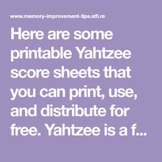 Printable Yahtzee Score Sheets  Grandchildren    Cards