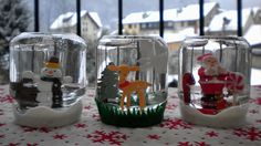 Snow Globes, Homemade Snow Globes, DIY, arts and crafts, How to make a snow globe Christmas Arts And Crafts, Holiday Crafts For Kids, Diy Christmas Gifts, Holiday Ideas, Christmas Ideas, Mason Jar Christmas Decorations, Christmas Mason Jars, Diy Snow Globe, Christmas Snow Globes
