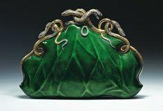 Circa 1968 Aloisia Rucellai evening bag, gold and platinum, translucent enamel, diamonds, and rubies.