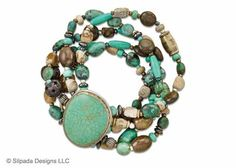 Make your life more colorful with this Howlite stone wrapped in oxidized Sterling Silver and Brass featured in a Chrysocolla, Picture Jasper, carved Bone, Bronzite, Howlite, Hematite and Magnesite multi-strand.   I need this too