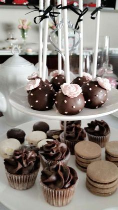 Lovely cake pops at a tea party birthday party! See more party planning ideas at CatchMyParty.com!