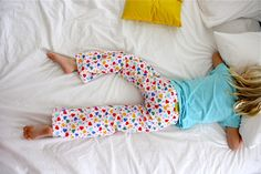 How to size a pj bottom pattern up or down to fit your kiddos. And yes, my kids will have matching pj bottoms. It's how I roll.