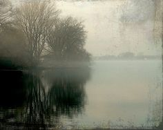 Misty lake, fog, spring, earth tones, neutral, woodland, nature, landscape, rustic, wall art - Morning Reflections 8 x 10 via Etsy