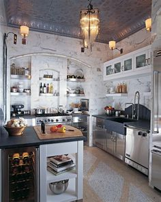 Tin Ceiling: My dream kitchen. I had a tin ceiling once, it was absolutely beautiful. Classic Kitchen, New Kitchen, Kitchen Dining, Awesome Kitchen, Kitchen Modern, Kitchen Island, Kitchen Ideas, Kitchen Industrial, Pantry Ideas