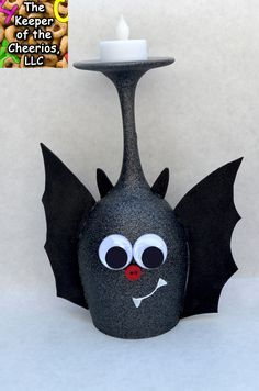 CUTE BAT wine glass candle holder
